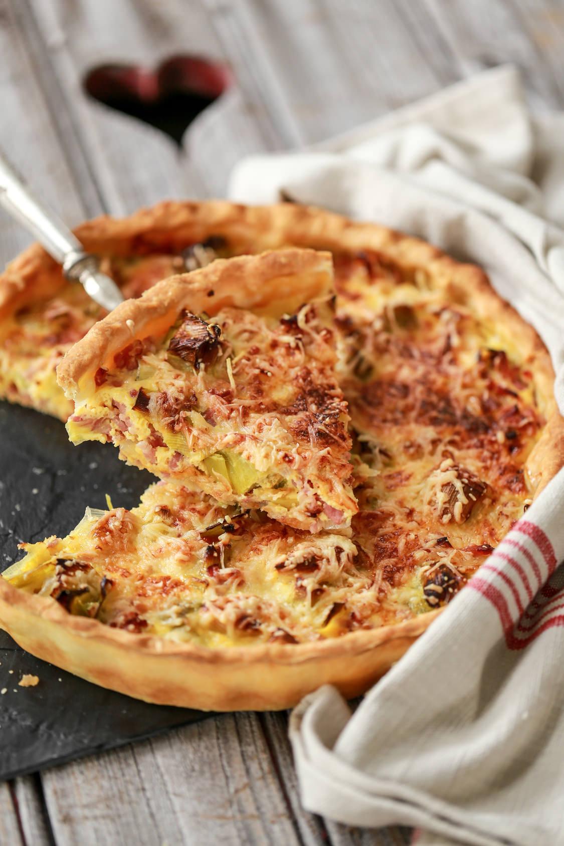 Tarte aux poireaux et aux lardons une petit entr e simple et familiale les recettes de cuisine - Tarte aux poireaux sans creme ...
