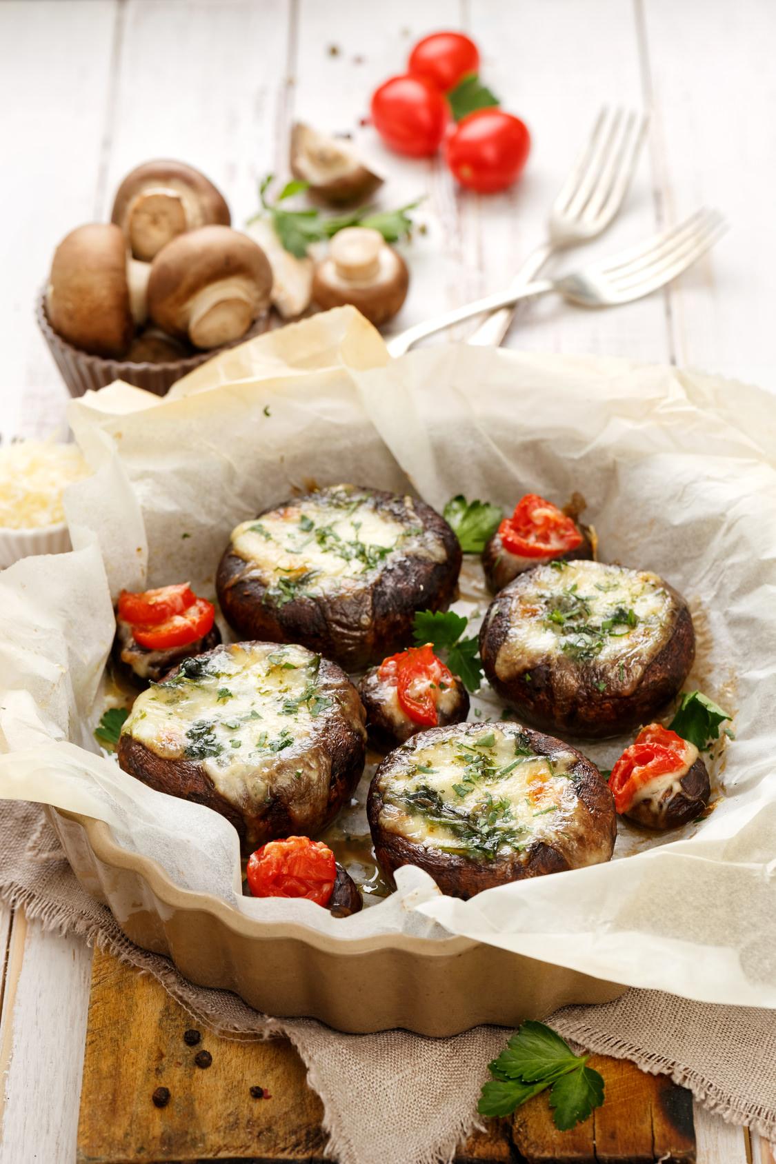 Champignons de Paris farcis mozza épinards une recette ...