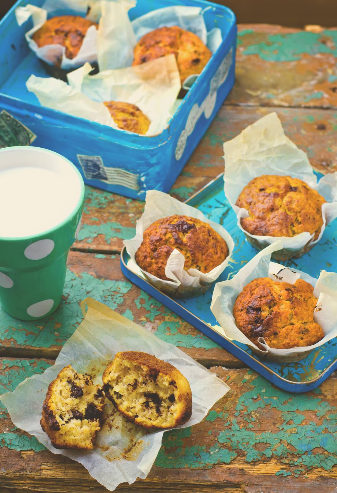 Muffins banane et chocolat des petits gateaux energ tiques - Petit gateau pour le gouter ...